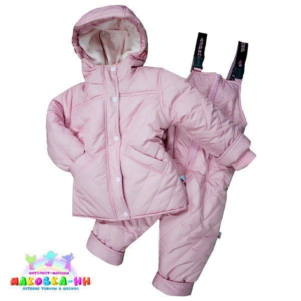 """Зимний комплект для девочки """"Снег"""" розового цвета"""