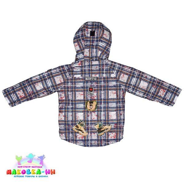 """Куртка для мальчика """"Олег"""" принт клетка/синий"""