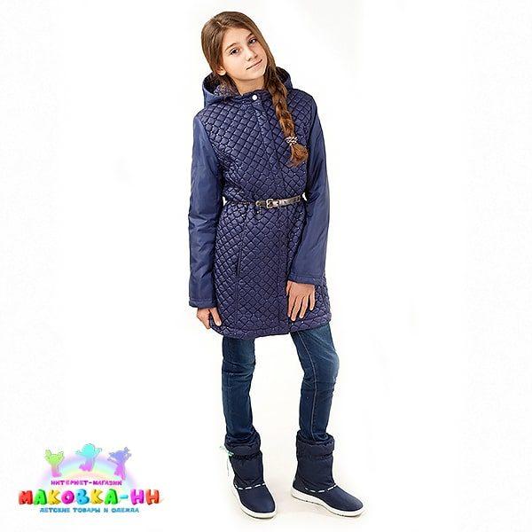 "Пальто для девочки весна-осень ""Лаура"" синий"