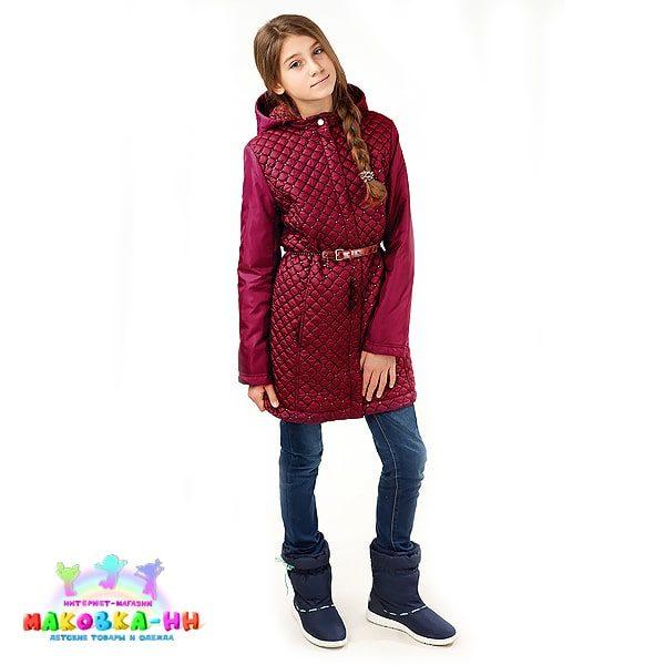 """Пальто для девочки весна-осень """"Лаура"""" вишневый"""