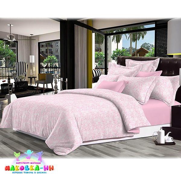 """Детское постельное белье из сатина""""Барокко"""" розового цвета"""