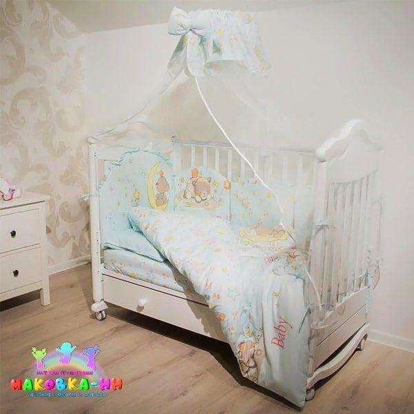 """Комплект в кроватку для новорожденных 7предметов""""Баю Бай"""""""