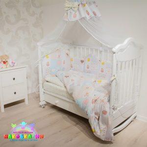 """Комплект в кроватку для новорожденных 7предметов""""Пэчворк"""""""