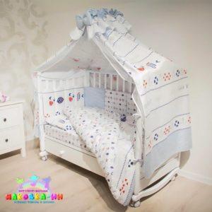 """Комплект в кроватку для новорожденных 7предметов""""Подводный мир"""""""